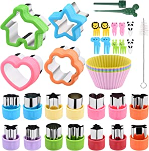 Cookie Cutters Set of 36 with Silicone Baking Cups, Sandwiches Vegetable Fruit Cutters Set for Kids, with Flower, House, Star, Heart, Shapes-Food Grade Stainless Steel Mini Cookie Cutters for Party