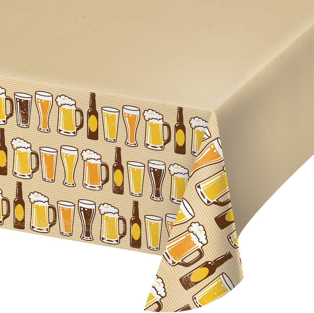 Creative Converting 324453 Cheers & Beers Plastic Border Print Tablecover, 54