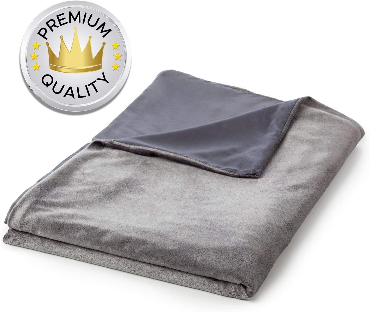 Snuggle Pro Reversible Duvet Cover for Weighted Blankets - 48 x 72 Inches Twin Size - All Season Cooling Bamboo and Soft Minky - Removable and Machine Washable - Grey