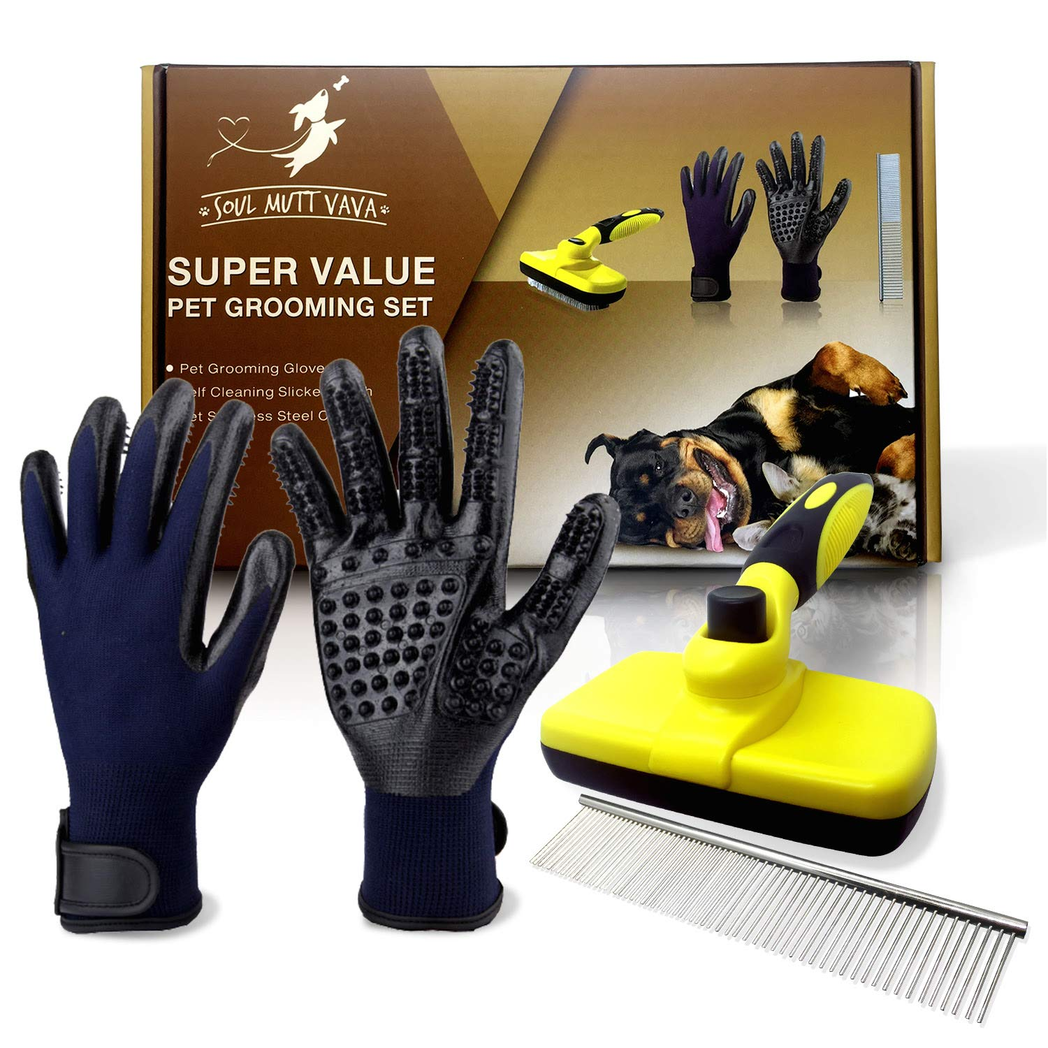 3 in 1 Pet Grooming Set,Self Cleaning Slicker Brush,Pet Comb and 1 Pair Pet grooming Gloves-Right & Left Hands,Anti Shedding Pet Hair Remover for Dogs & Cats,Deshedding Fur,Long & Short Hair,Undercoat by SOUL MUTT VAVA (Image #1)
