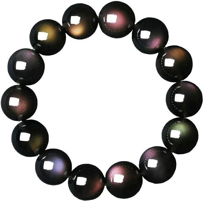 rainbows!natural clear rock quartz 14 mm bracelet-A5