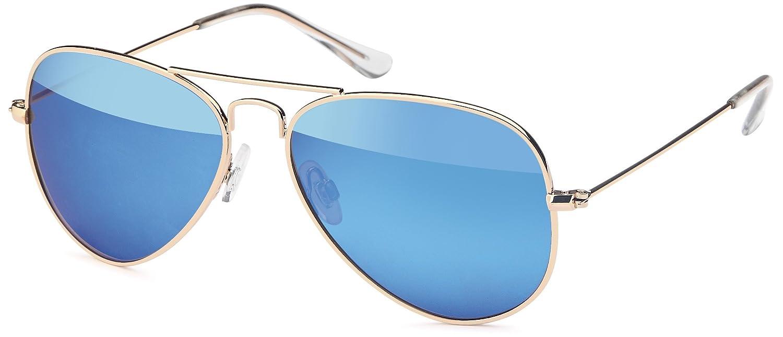 Sonnenbrille mit Edelstahlrahmen und polarisierten Gläsern in 2 Farben - mit Hardcase (blau-klassisch) 2J2Vgv