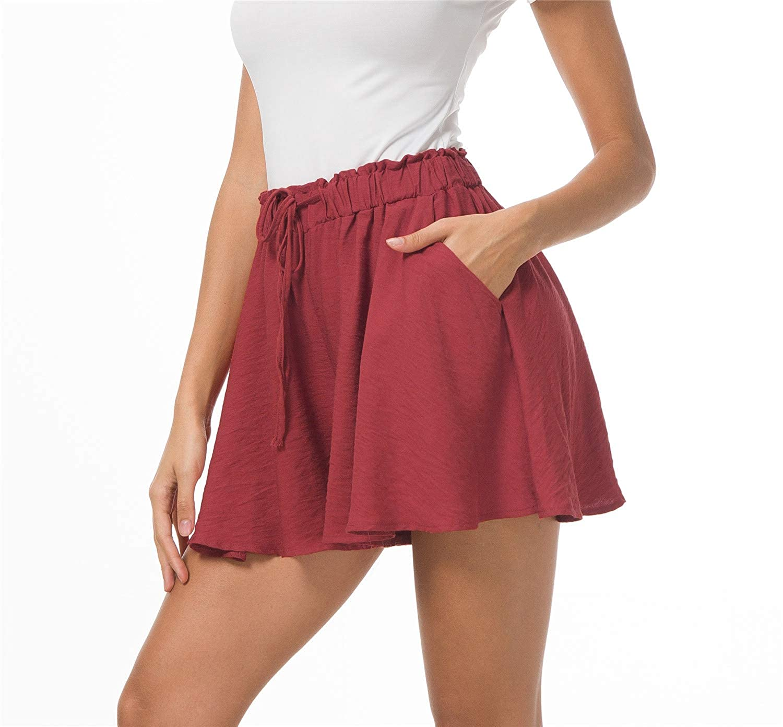 Solatin Ladies Casual Elastic Shorts Summer Pants Pocket Cool Shorts Holiday Shorts Womens Shorts