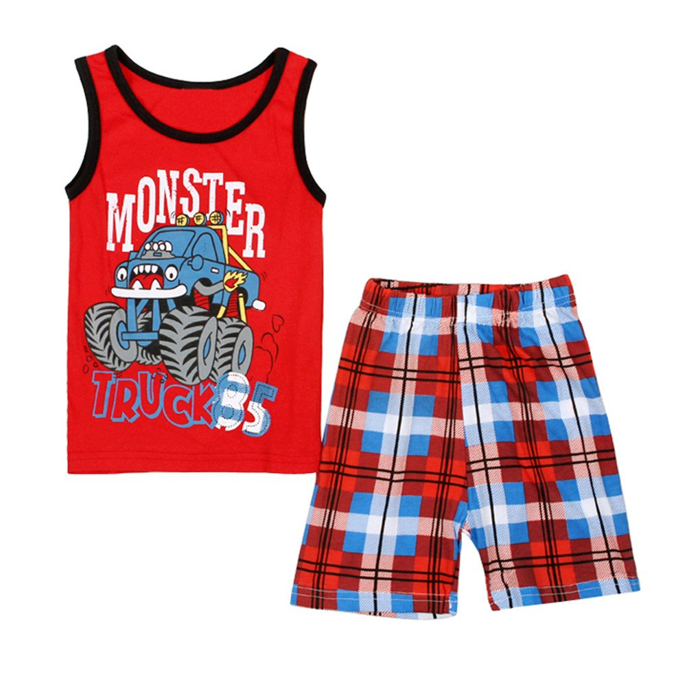 2-7 Years Toddler Boy Pajamas 2 PCS Tank and Shorts Clothing Set