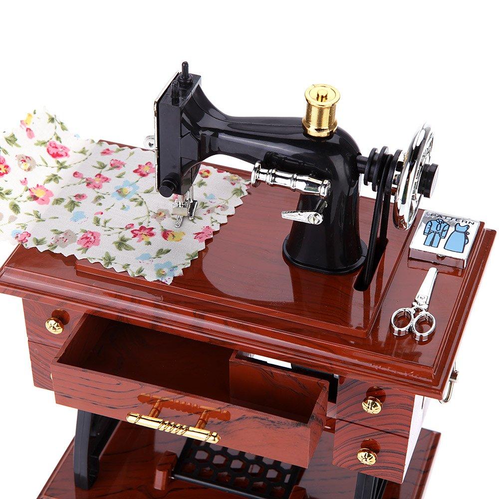 Sypure TM Creative vintage Mini machine à coudre Style mécanique Cadeau d'anniversaire Boîte à musique Maison Fournitures