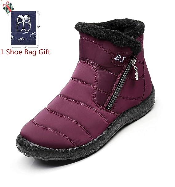 Morbuy Botas de Nieve Mujer, Invierno Unisex Forro Piel Plano Botines Calentar Zapatos Cremallera Impermeables Deportes Trekking Zapatos Sneakers: ...
