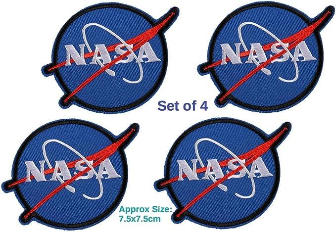 Juego de 4 parches de la NASA Insignia Vector Logo azul bordado ...