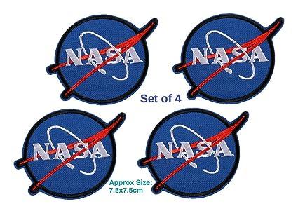 Juego de 4 parches de la NASA Insignia Vector Logo azul bordado parche SPACE AGENCY ASTRONAUT