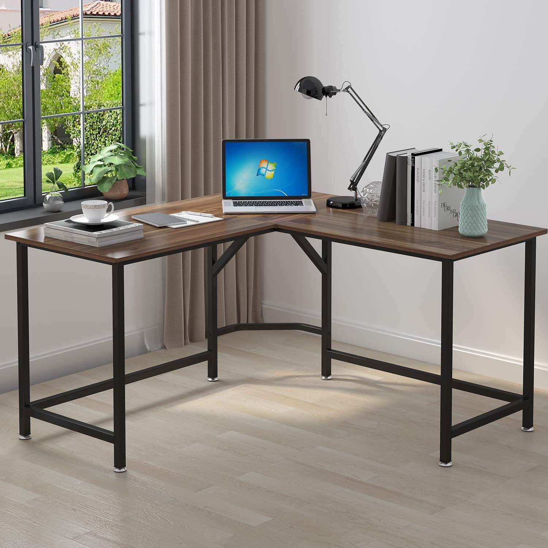 ELEGANT Computer Desk 55'' x 55'' with 24'' Deep L-Shaped Desk Corner Workstation (Oak Brown)