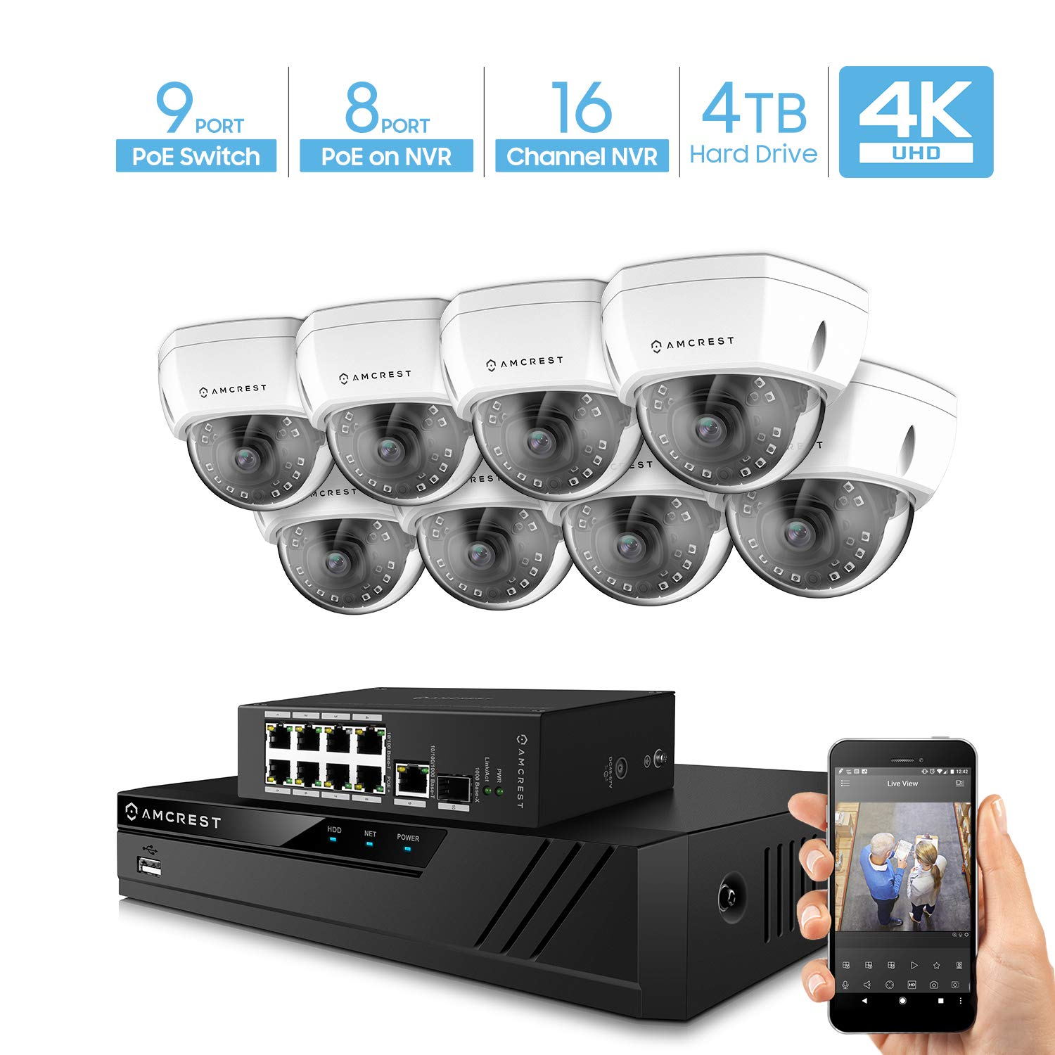 Amcrest 4K UltraHD Video Security Camera System w 4K 16CH PoE NVR, 8 x 4K Dome IP PoE Cameras, 9-Port PoE Switch w Gigabit Uplink, Pre-Installed 4TB Hard Drive Supports up to 6TB White