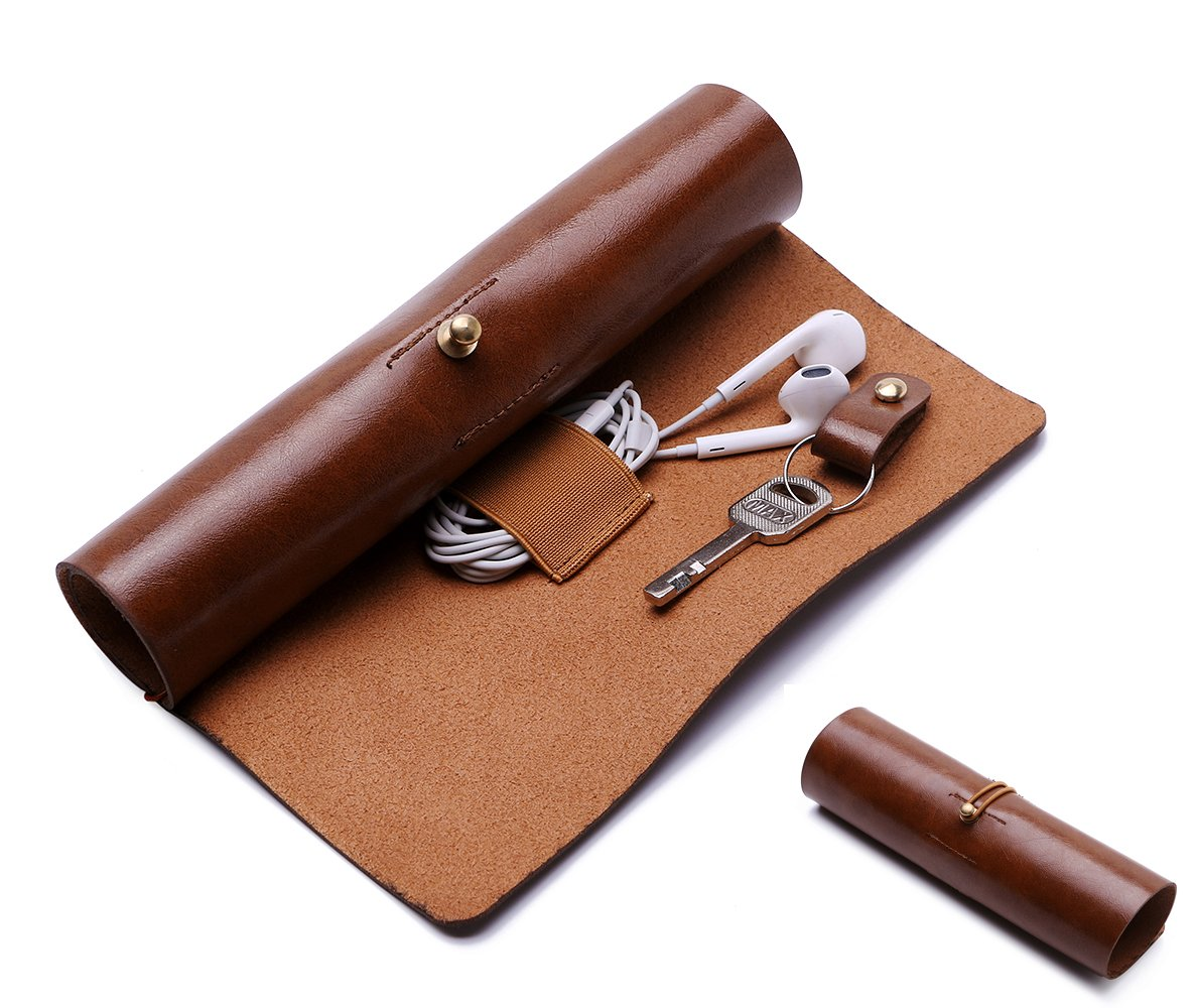 BoomYou Leather Wallet Roll Up Case Pen Case Storage Roll Bag Pencil Sleeve Keys Holder for Surface/iPad Touch Pen Data Cable Makeup - Leather Creative Personality Retro Style - Brown