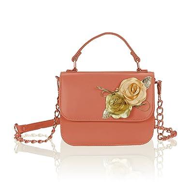 Kleio Flower Embellished Small PU Leather Crossbody Messenger Purse  Shoulder Handbag For Women Girls (Burgandy