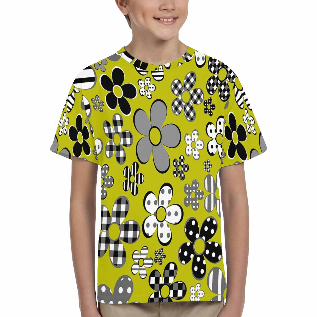 INTERESTPRINT Youth Crew Neck T-Shirt Patterned Flowers XS-XL