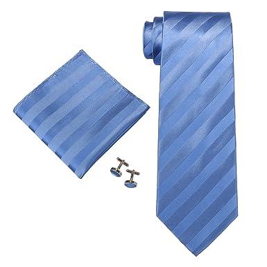 "6b34d9b6b0d4 Landisun Stripes Mens Silk Tie Set: Neckie+Hanky+Cufflinks 56W Blue,  3.25"""
