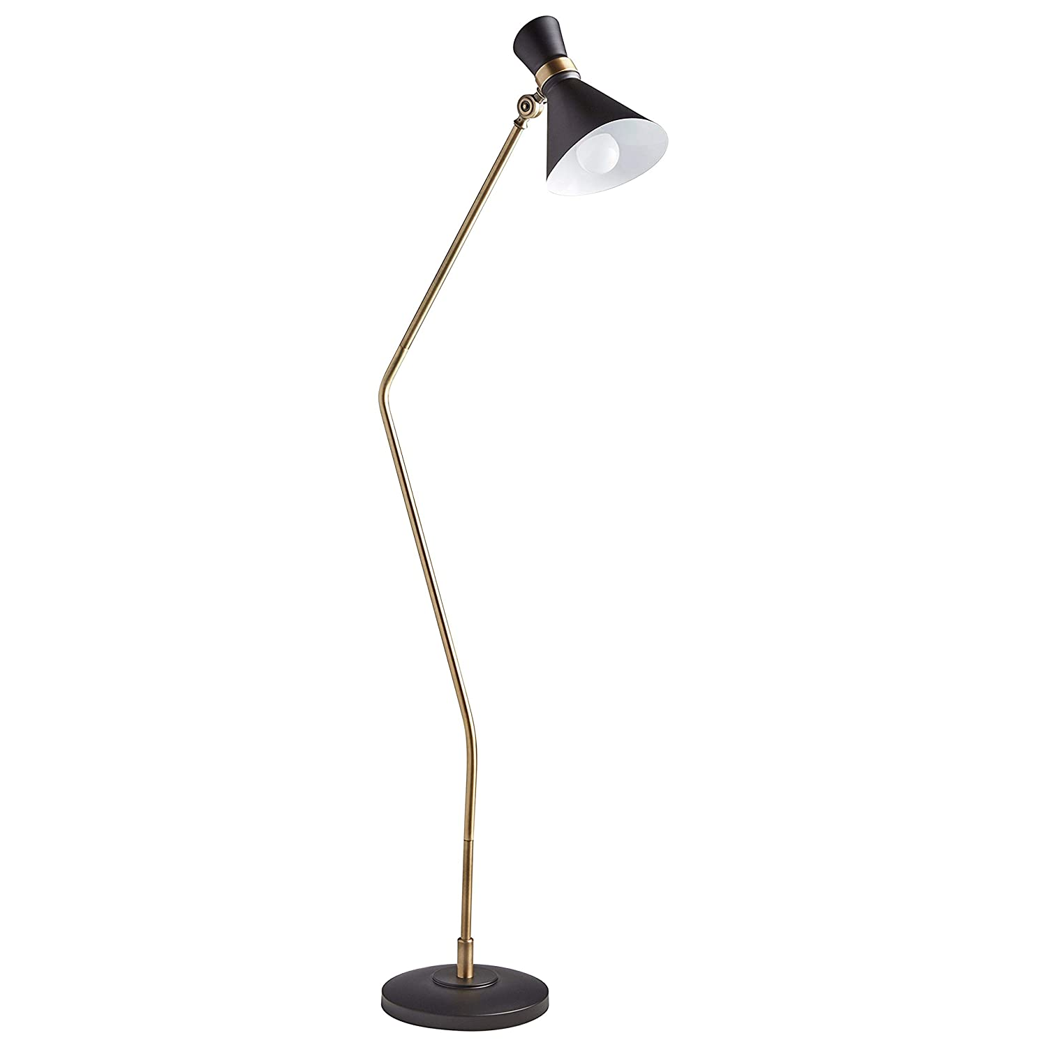 "Rivet Mid-Century Modern Task Lamp, 57""H, With Bulb, Matte Black & Brushed Steel Accents"