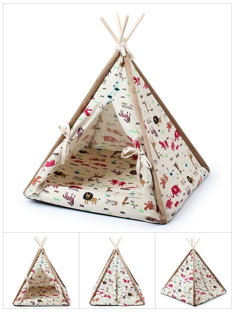 Stock Show 1Pc Removable Washable Wood Frame Canvas Tent Teepee Pet Mat Bed House Hut Portable Pet Supplies for Dog/Puppy/Cat/Kitty/Kitten(Cartoon Animal Pattern, L)