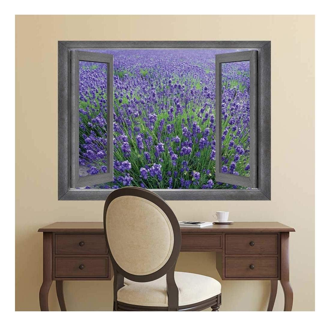 Delightful Creative Design, With a Professional Touch, Open Window Creative Wall Decor Gorgeous View onto a Lavendar Field Wall Mural