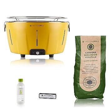 Clase Italia 80033550 barbacoa de mesa a carbón, sin humo, amarillo: Amazon.es: Jardín