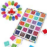Funxim 24 Colors Ink Pad Set, Fingerprint Ink pad Non-Toxic for Rubber Art Craft Stamp Card Making Washable Baby Safe Ink Pad Multi Colors (24 Pack)