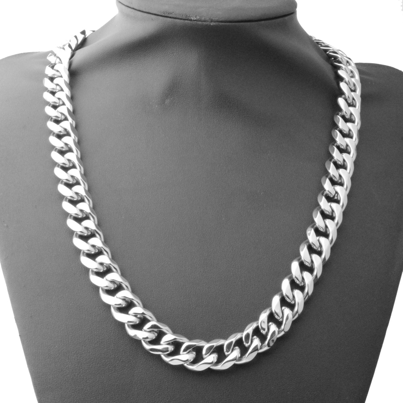 12//15mm Polishing Silver Stainless Steel Curb Link Chain Necklace Mens Neck Jewelry,16-40