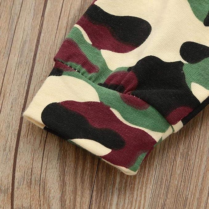 wuayi Newborn Toddler Baby Girls Boys Camouflage Bow Long Sleeve Tops Pants Headbands