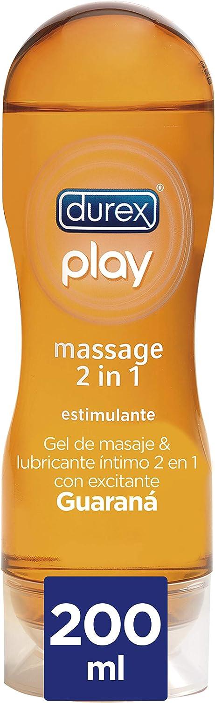 Durex Lubricante Play Massage 2 en 1 Gel de Masaje Corporal Erótico y Estimulante con Guaraná - 200 ml