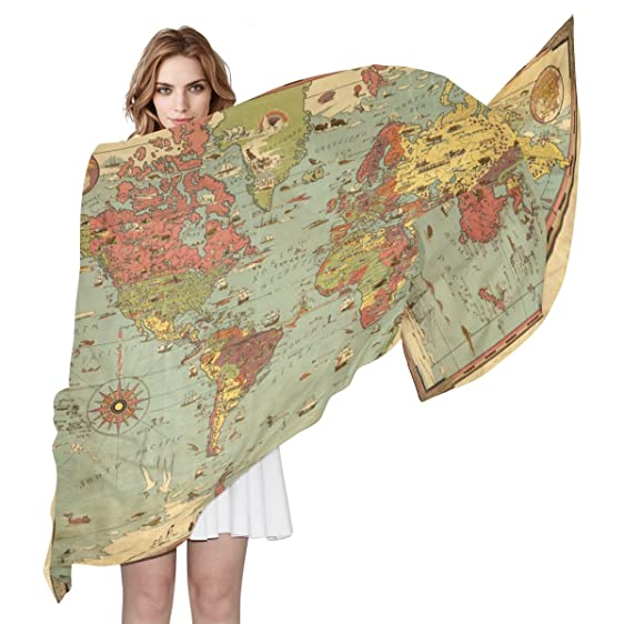 Shawl wrap sheer scarves vintage world map compass oblong chiffon shawl wrap sheer scarves vintage world map compass oblong chiffon scarf gumiabroncs Image collections