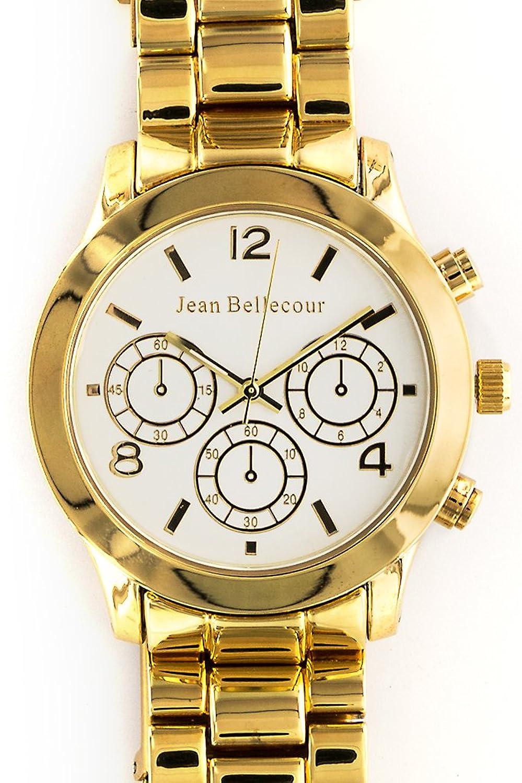 Jean Bellecour – reds10-gw – Armbanduhr – Quarz Analog – Weißes Ziffernblatt – Armband Stahl vergoldet Gold