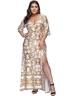 ee8b25d725eb FeelinGirl Damen V Ausschnitt Spaghetti Buegel Blumen Sommerkleid Elegant  Vintage Cocktailkleid Kleider Groß Größe