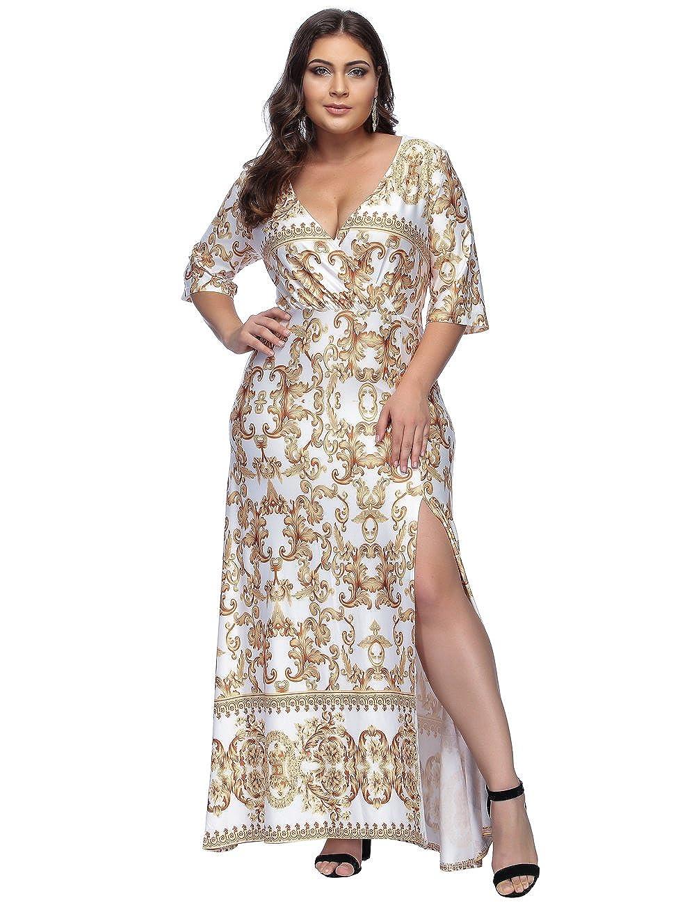 FeelinGirl Damen V Ausschnitt Spaghetti Buegel Blumen Sommerkleid Elegant Vintage Cocktailkleid Kleider Groß Größe
