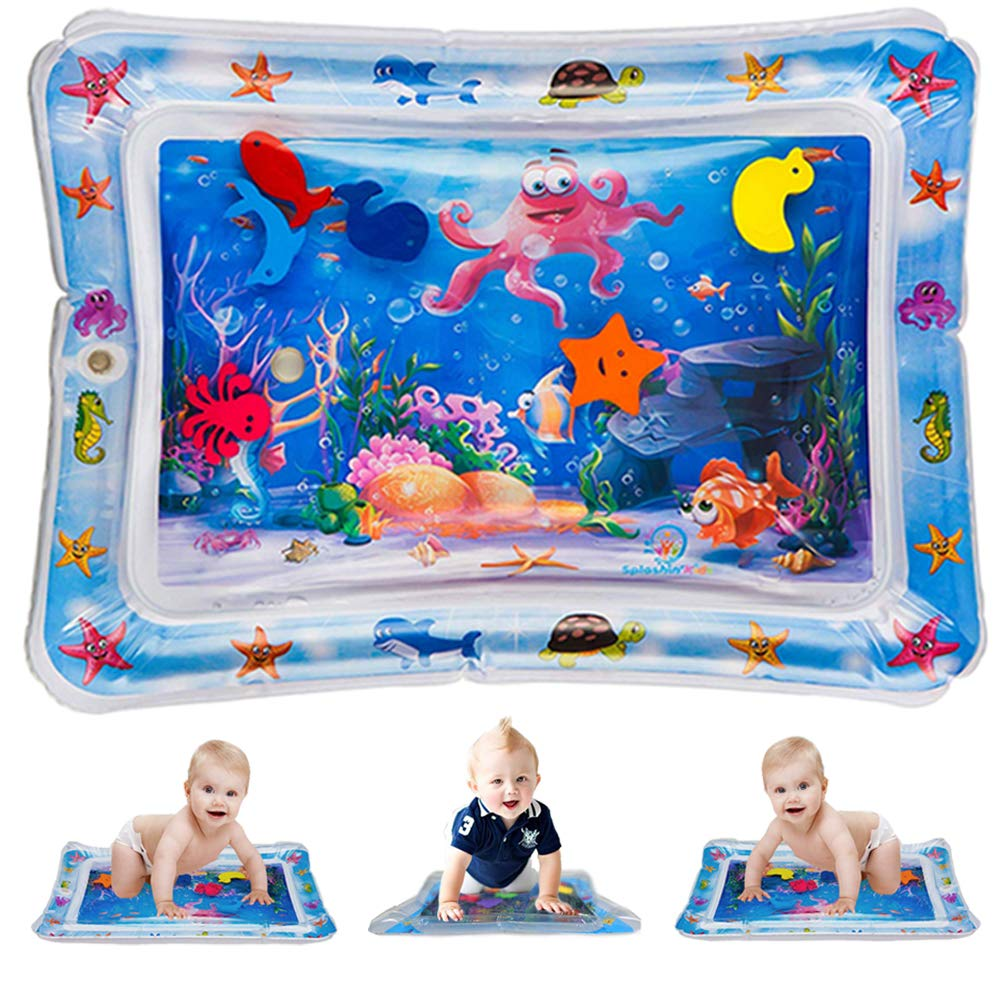 Flow.month Inflatable Tummy Time Premium Water Play Mat Infants Toddlers Newborns Toys for 3 6 9 Months is The Perfect Fun Belly Time Play Activity Center for Your Baby's Stimulation Growth 26''x20'' by Flow.month