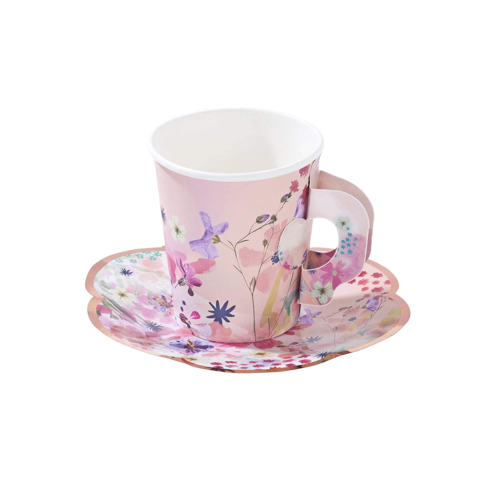 Bridal Shower Baby Shower Girls Birthday Tea Party Cups Pink Floral Paper Cups and Saucers 8 oz Pk 24 by Talking Tables