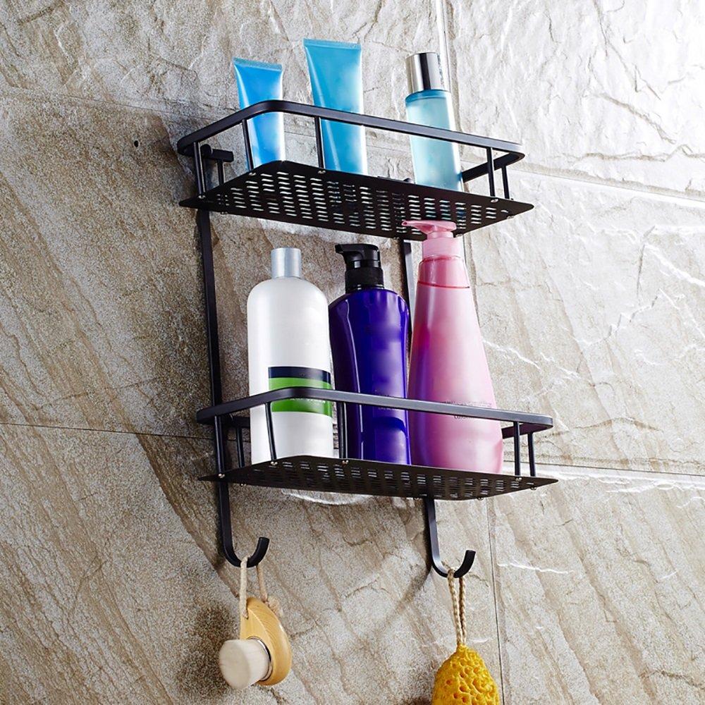 XiYunHan Bathroom Shelf 2-Tier Shower Cosmetic Shelf Square Modern Style with Cover Oil Rubbed Black Bronze Basket Shower Organizer Wall Mounted Storage Shelf by XiYunHan (Image #7)