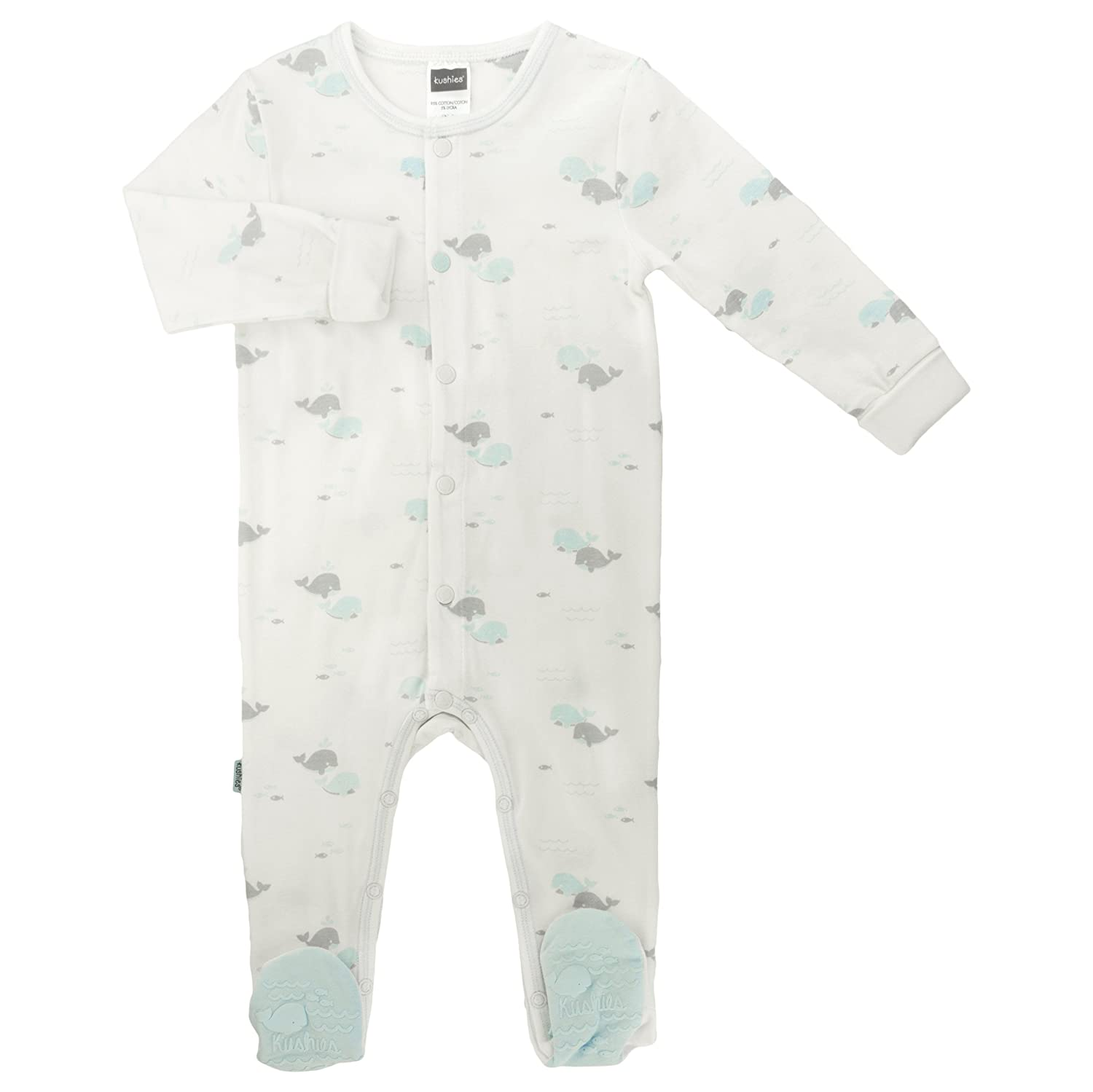 Kushies Baby Boys Front Snap Sleeper, White Print, 6 Months L16060675
