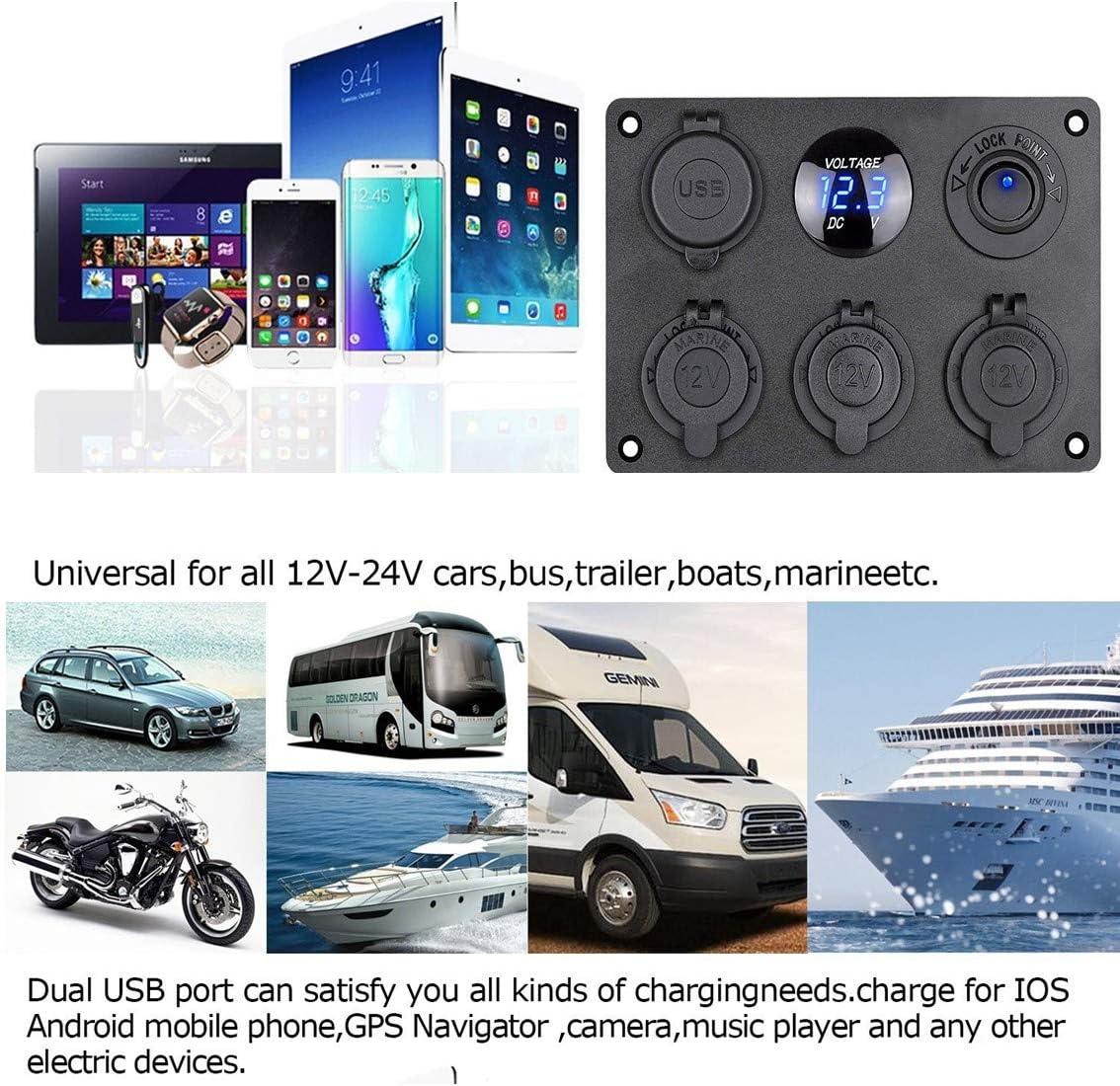 Thlevel Pannello Impermeabile Multi-Funzione Interruttore a bilanciere Illuminato voltmetro a LED Blu Presa di Corrente a 12V Caricatore con Doppia Presa USB