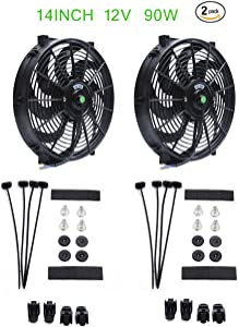 (2 pack) Engine radiator cooling fan 14-inch curved blade 12V 90W motor, radiator fan with fan mounting kit (push-pull design)