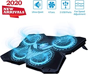 "Laptop Cooling Pad, Gaming Laptop Cooler Stand with 4 Silent Big Fans for Notebook, Stable Cooling Pad for Laptop, 2 USB Powered Fan Compatible up to 17"", Control Fan Speed for PC, 2020 New Version"
