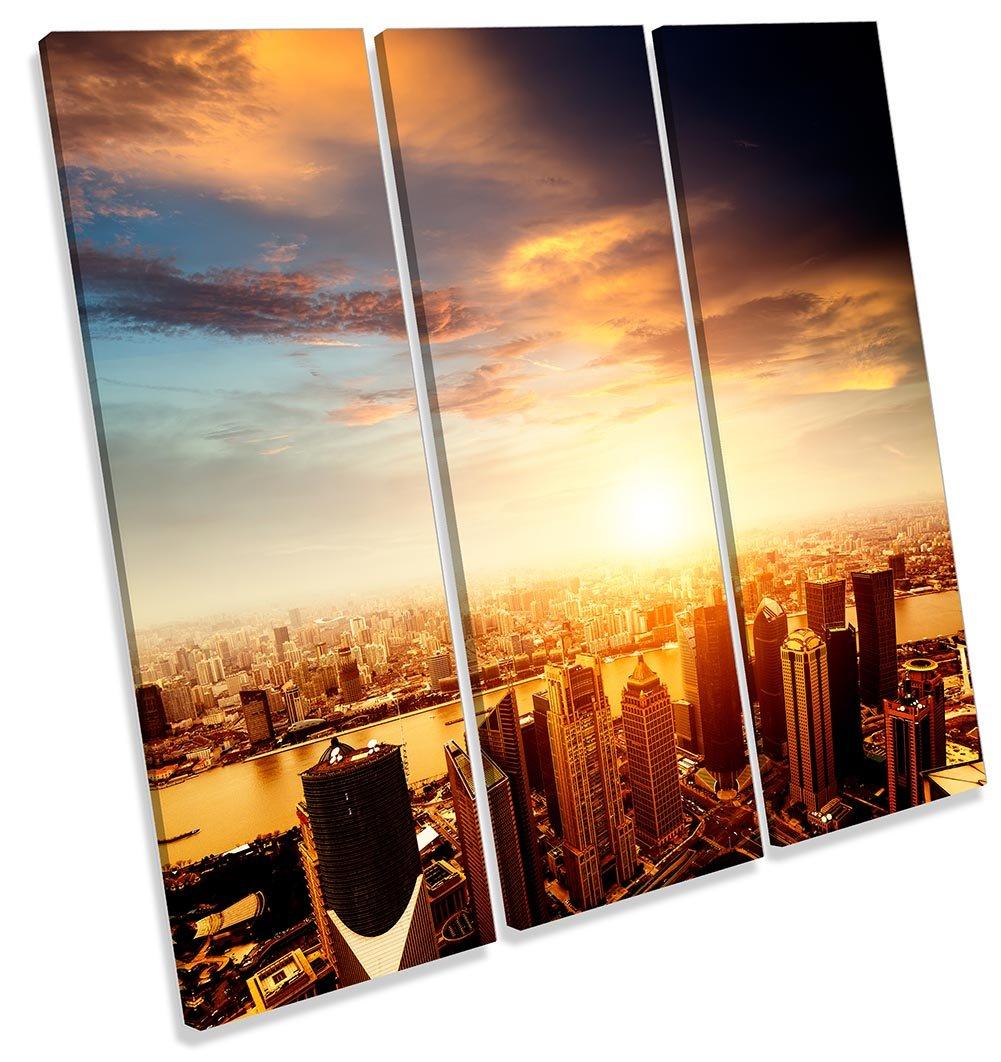 Canvas Geeks Shanghai China Sunset Skyline Treble gerahmt Wall Art Print auf Leinwand Bild Quadratisch, 120cm Wide x 120cm High