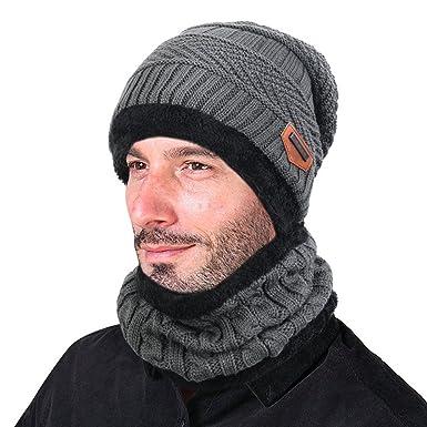 009ccc00a12f Tuopuda® Chauffant Bonnet Tricot avec Écharpe de Doublure Polaire, Hiver  Chapeau Beanie pour Homme