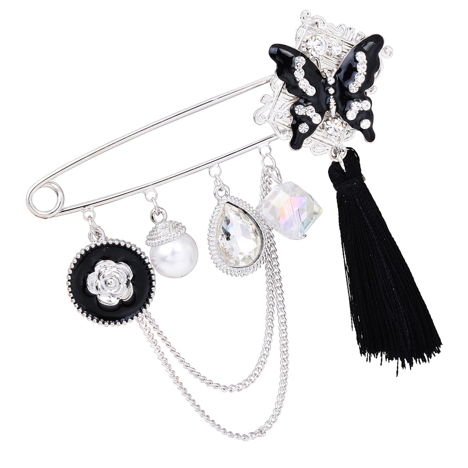 Fenni Black Enamel Crystal Butterfly Large Safety Pins Brooch with Tassel Camellia Pearl Charm 3.2'' L