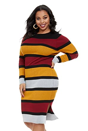 a39e8f7d870 Women s Plus Size Elisa Striped Midi Sweater Dress at Amazon Women s  Clothing store