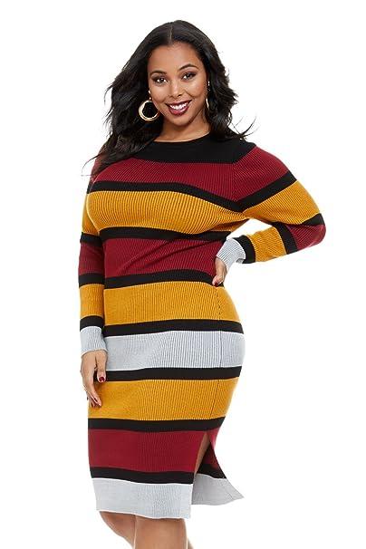 1a12687a0858 Women s Plus Size Elisa Striped Midi Sweater Dress  Fashion To Figure   Amazon.ca  Clothing   Accessories