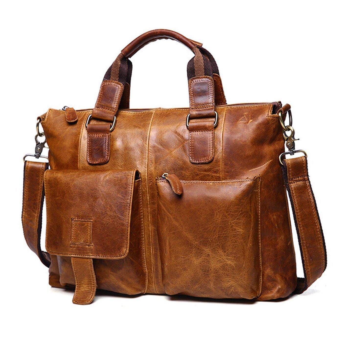 DRF Leather Laptop Messenger Bag Business Office Briefcase Satchel for Men BG-262 (Brown)