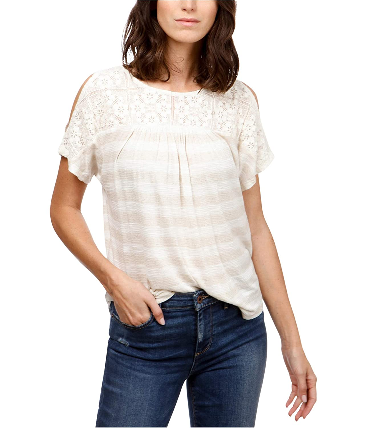 0tx Lucky Brand Womens Crocheted Basic TShirt