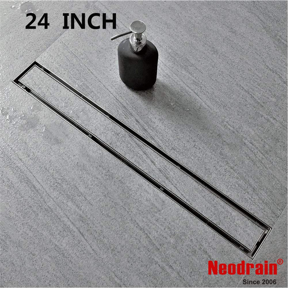 Neodrain 24-Inch Linear Shower Drain with Tile insert Grate, Professional Brushed 304 Stainless Steel Rectangle Shower Floor Drain Manufacturer,Floor Shower Drain With Leveling Feet, Hair Strainer