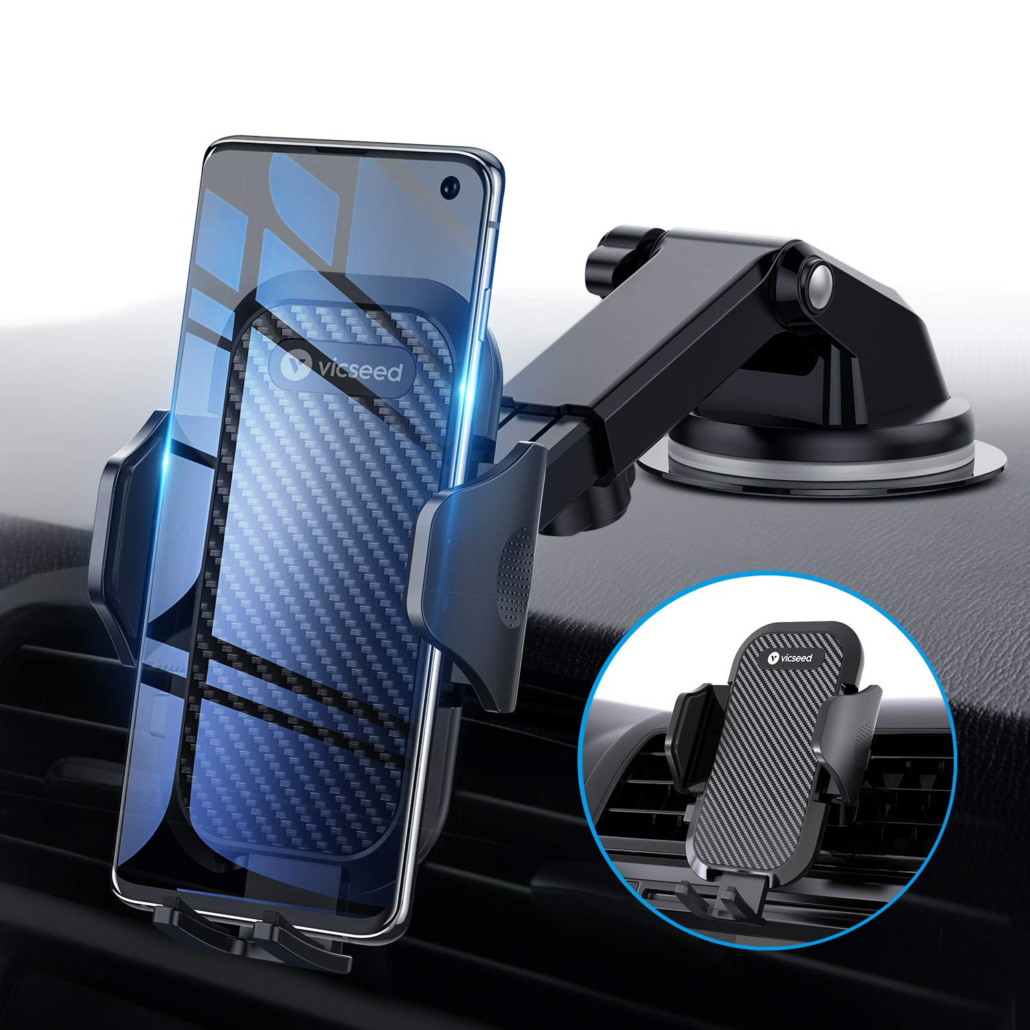 Universal Car Phone Mount VICSEED Car Phone Holder for Car Dashboard Windshield Air Vent Long Arm Strong Suction Cell Phone Car Mount Compatible with iPhone 11 Pro X XS Max XR Galaxy Note10 S10