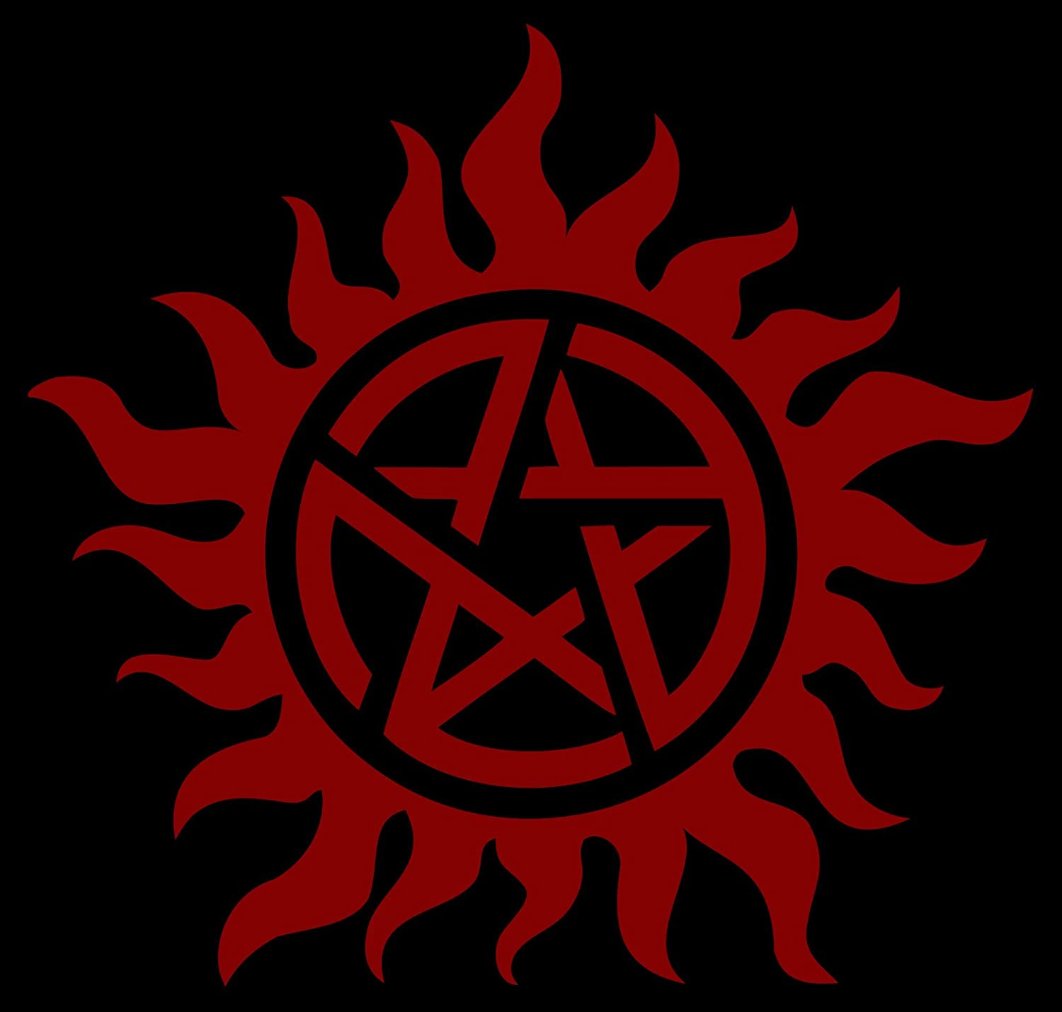 Art Stickers /& Decals Supernatural die cut Vinyl Decal sticker Approx Anti-Posession Symbol red 5 inches