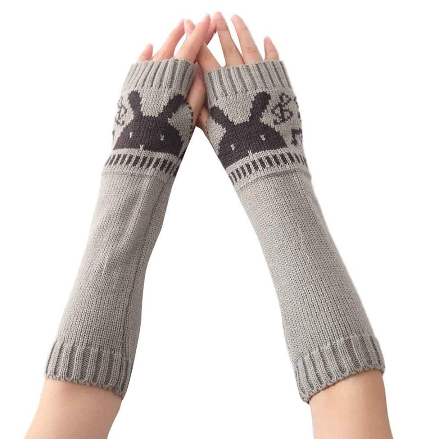 Kingko® Fashion Women's Rabbit Knitted Arm Sleeve Fingerless Winter Gloves Soft Warm Mitten