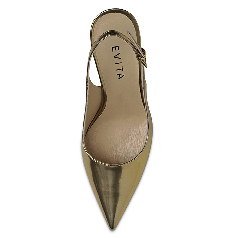 22b605029845 Evita Shoes Natalia Damen Sling Pumps Brushleder Gold 35  Amazon.de  Schuhe    Handtaschen