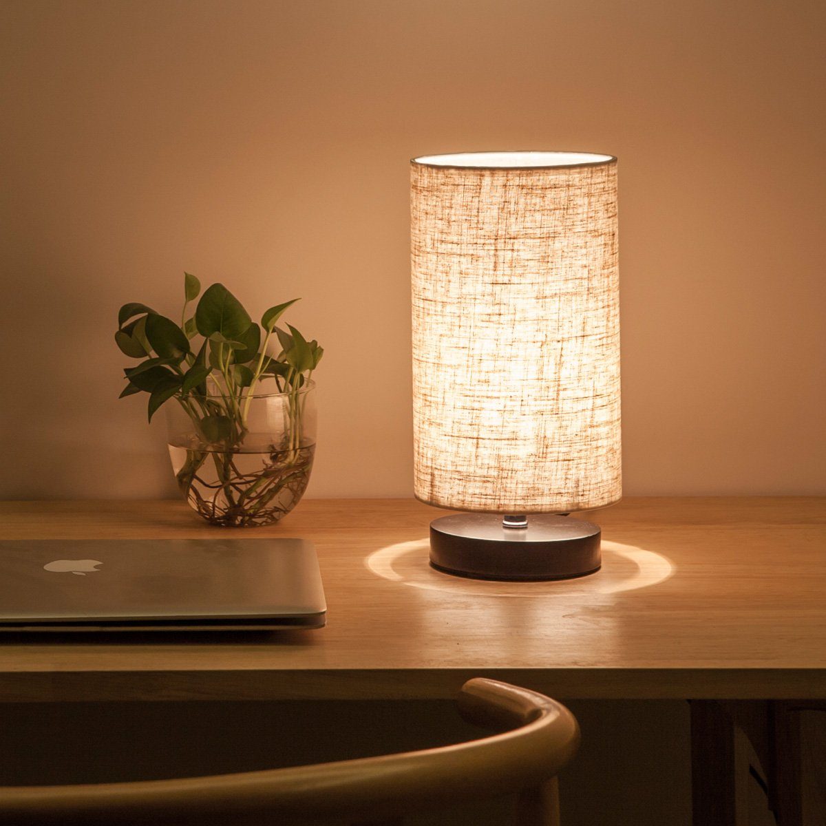 Lifeholder Table Lamp, Bedside Nightstand Lamp, Simple Desk Lamp, Fabric Wooden Table Lamp for Bedroom Living Room Office Study, Cylinder Black Base by lifeholder (Image #5)